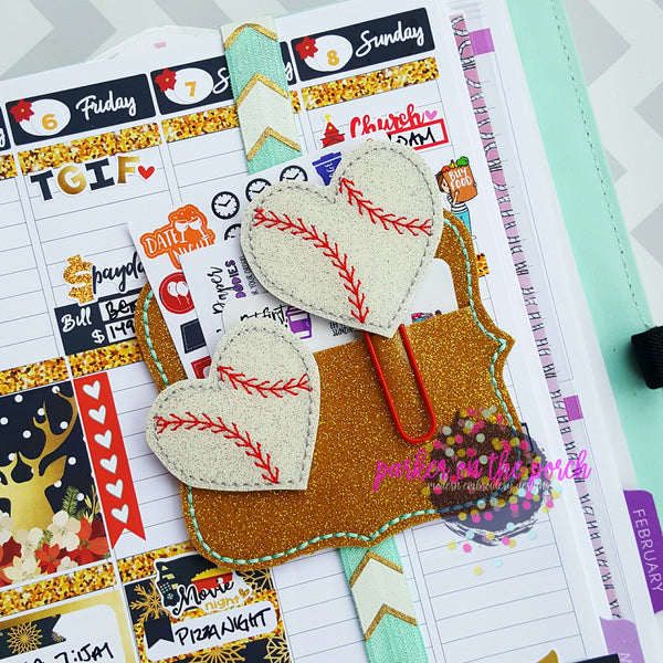 Digital Download - Baseball Heart Planner Clip & Feltie Set - in the hoop machine embroidery