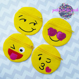 Digital Download - Emoji Zipper Bags 2.0 - in the hoop machine embroidery ITH pattern
