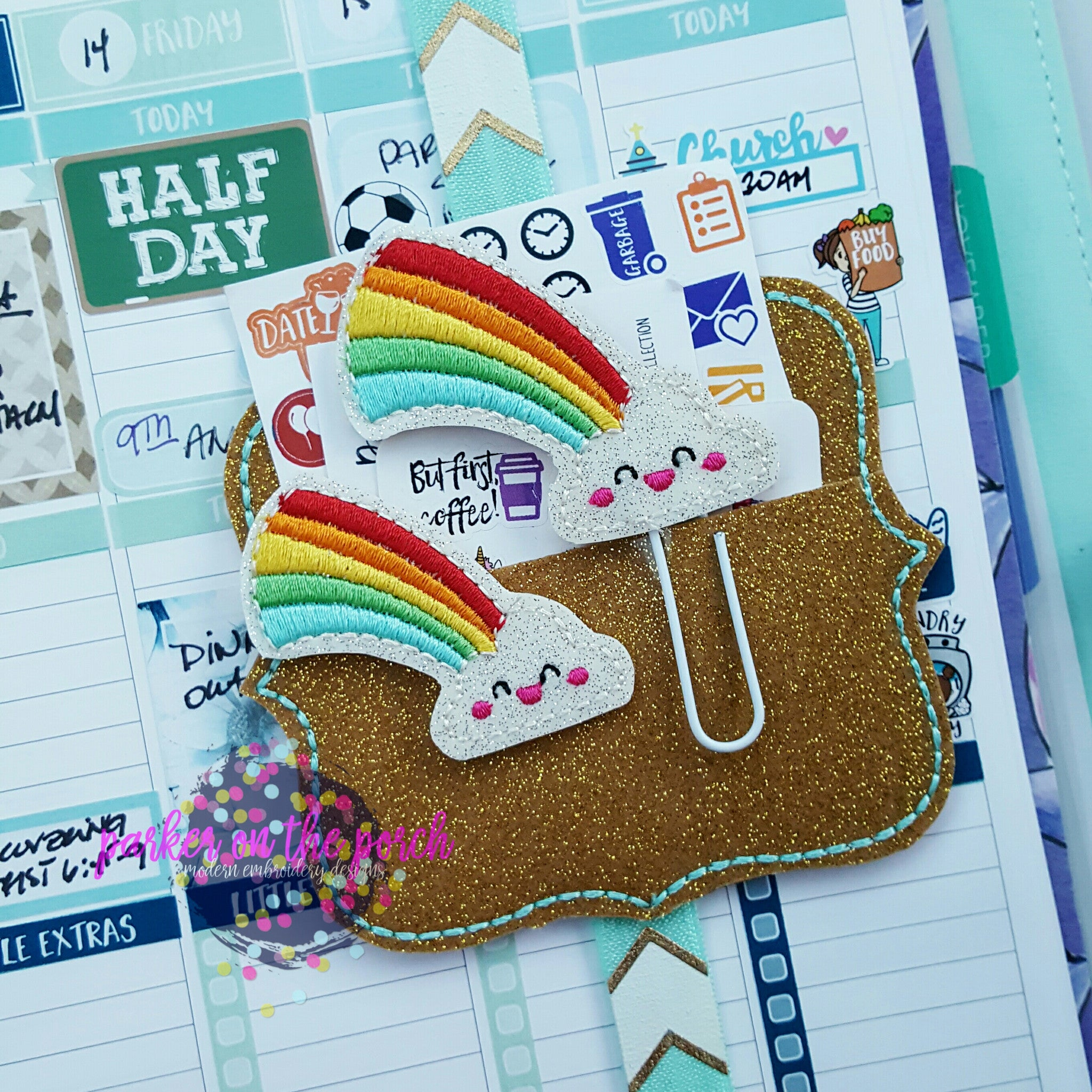 Digital Download - Kawaii Rainbow Planner Clip & Feltie Design - Parker on the Porch, LLC