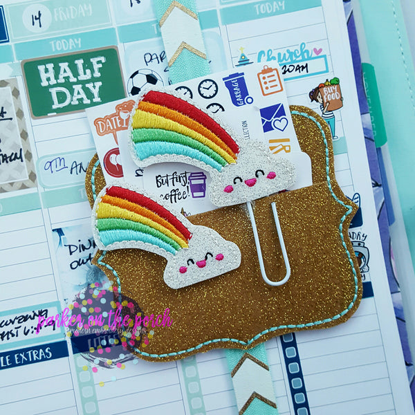 Digital Download - Kawaii Rainbow Planner Clip & Feltie Design - in the hoop machine embroidery ITH pattern