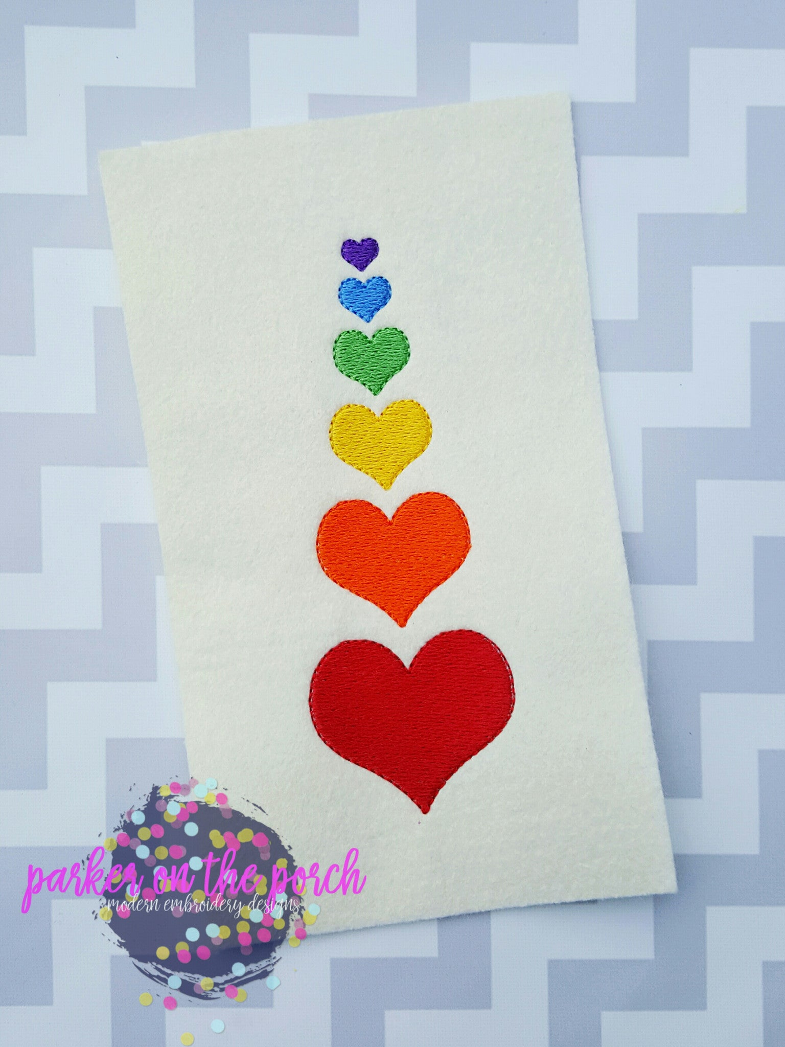 Digital Download- Filled Hearts set of 6 - in the hoop machine embroidery ITH pattern