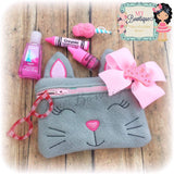 Digital Download - Kitty Zipper Bag - in the hoop machine embroidery ITH pattern