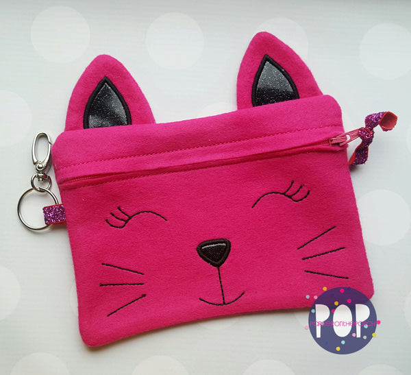 Digital Download- Kitty Zipper Bag - in the hoop machine embroidery