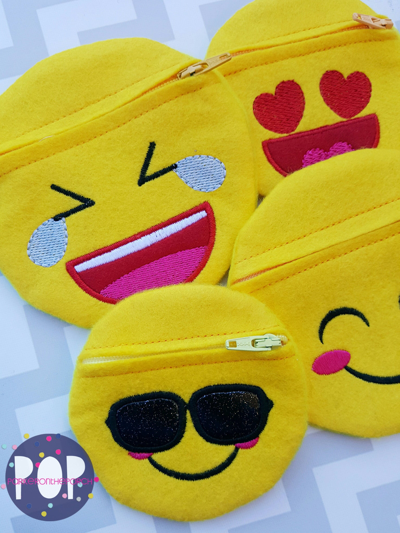 Digital Download- Emoji Zipper Bags set of 4 (2 sizes!!) - Parker on the Porch
