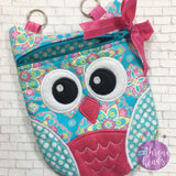 Digital Download - Owl Zipper Bag - in the hoop machine embroidery ITH pattern