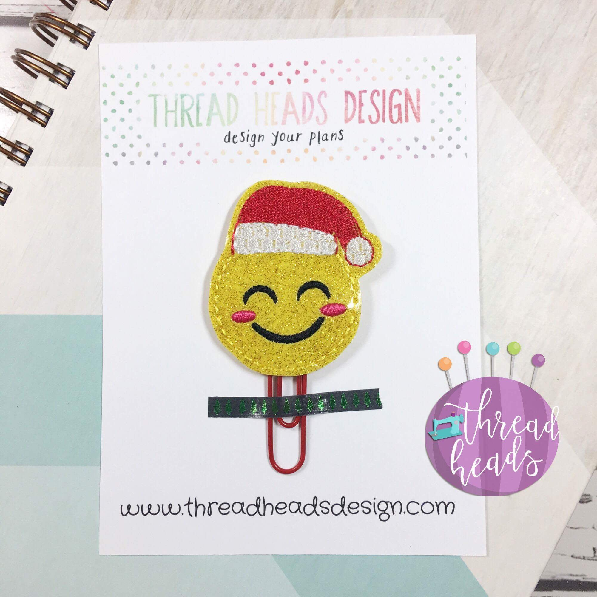 Digital Download- Santa Emoji Planner Clip - in the hoop machine embroidery