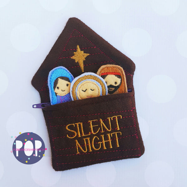 Digital Download- Nativity Feltie Set and Bag - in the hoop machine embroidery