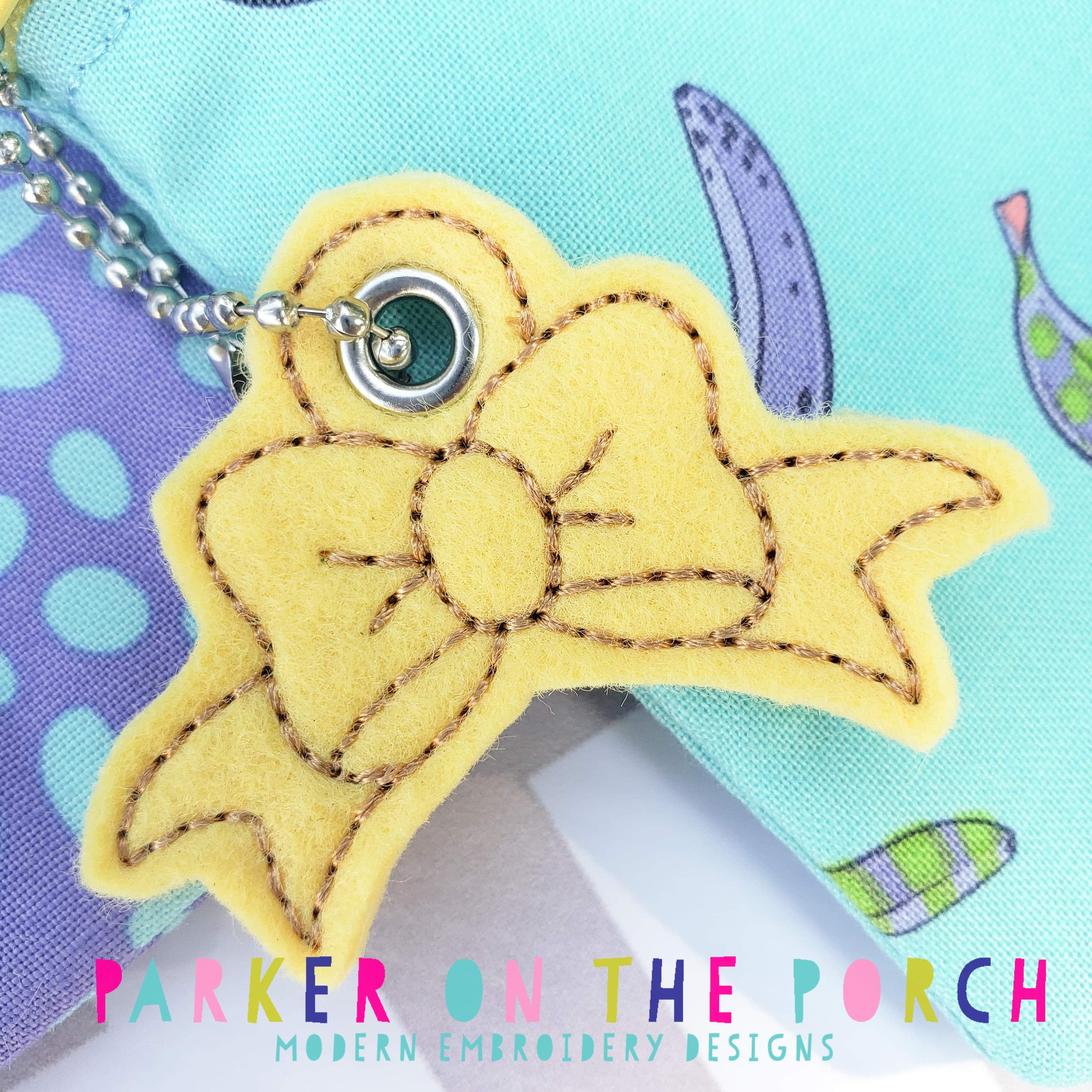 Digital Download- Bow Charm - in the hoop machine embroidery ITH pattern