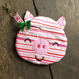 Digital Download - Pig Zipper Bag - in the hoop machine embroidery ITH pattern