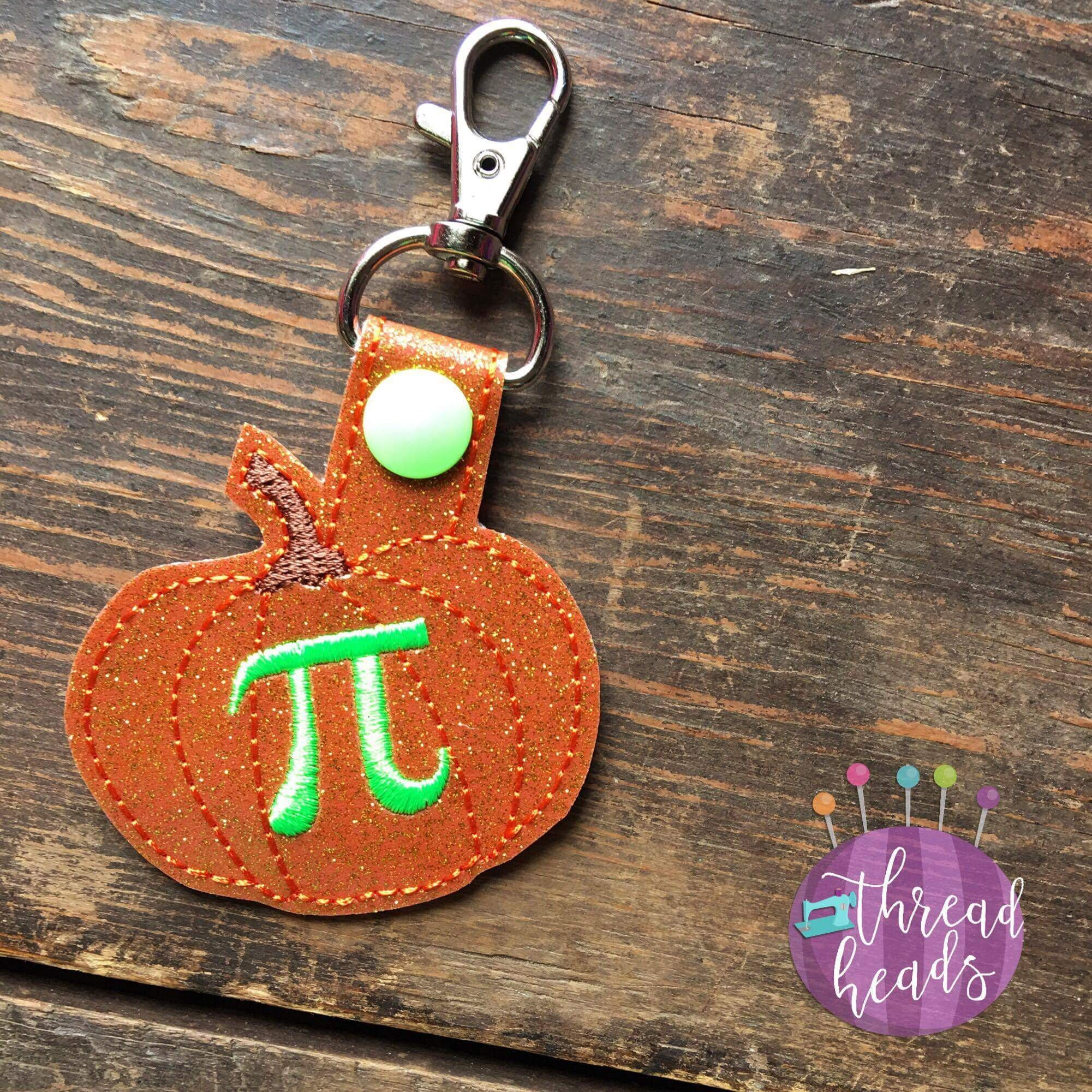 Digital Download- Pumpkin Pi Snaptab - in the hoop machine embroidery ITH pattern