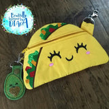 Digital Download- Taco Zipper Bag - in the hoop machine embroidery