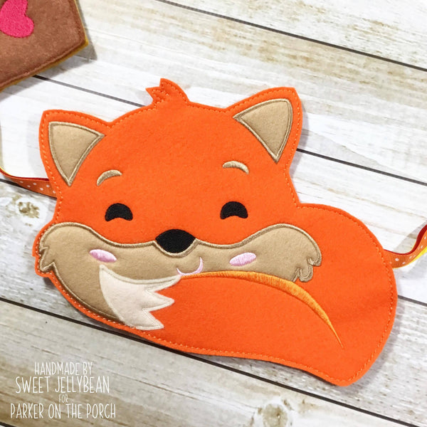 Digital Download- Fox Banner - in the hoop machine embroidery ITH pattern