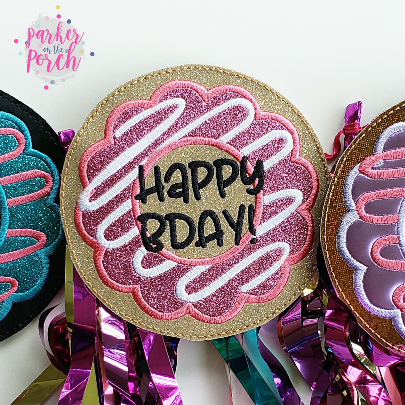 Digital Download- Donut Banner- Happy Birthday Freebie! - in the hoop machine embroidery ITH pattern