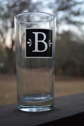 Monogramed Etched Dinner Glass