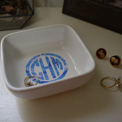 Patterned Monogrammed Ring Dish