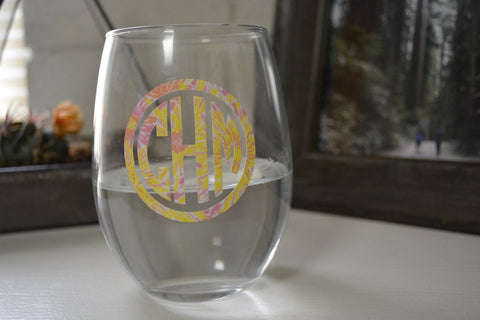 Patterned Monogrammed Wine Glass