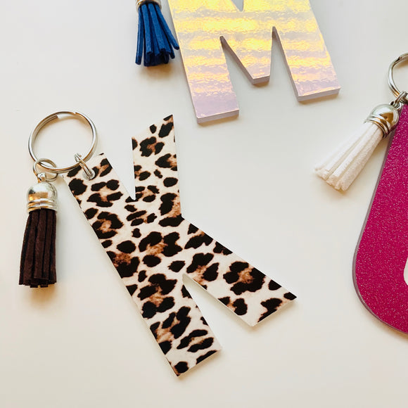 Patterned Single Letter Keychain