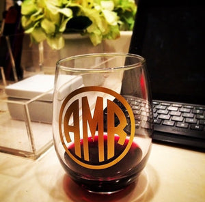 Monogrammed Stemless Wine Glass