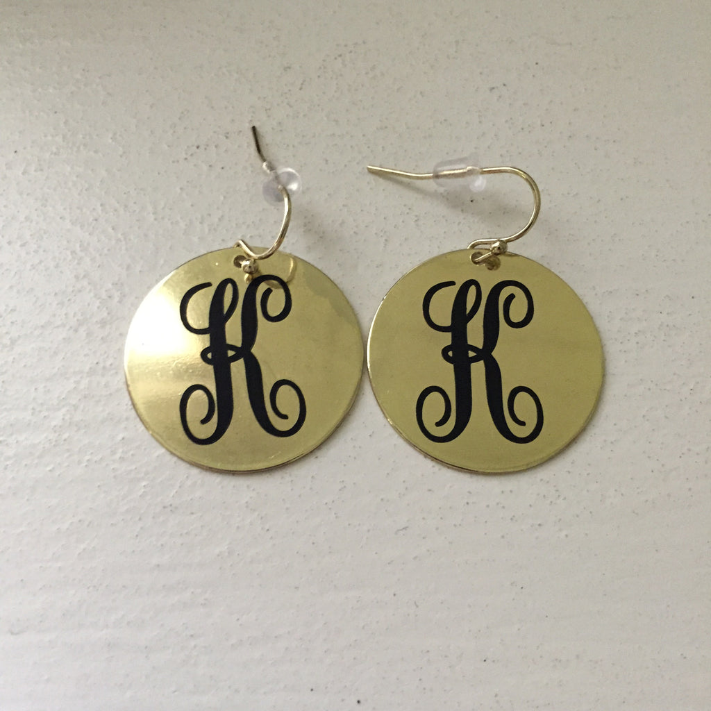 Monogrammed Metallic Earrings