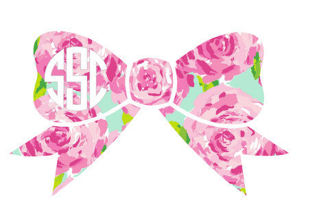 Patterned Bow Monogram Decal