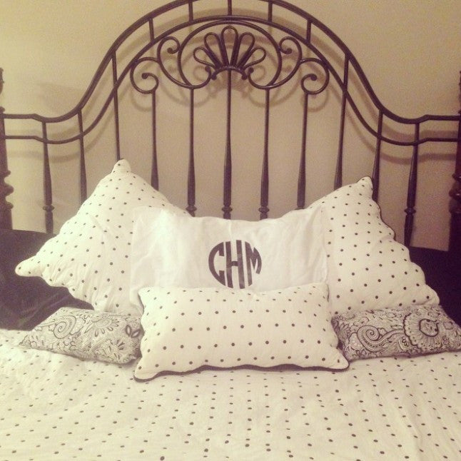 White Monogrammed Round Font Pillow Case