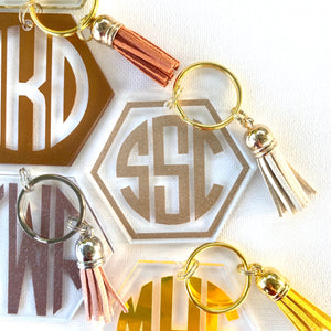 Hexagon Solid Color Key Chains