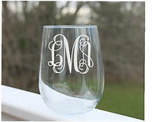 Etched Stemless Wine Glass