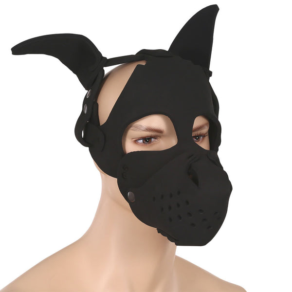 Neoprene puppy play hood and muzzle