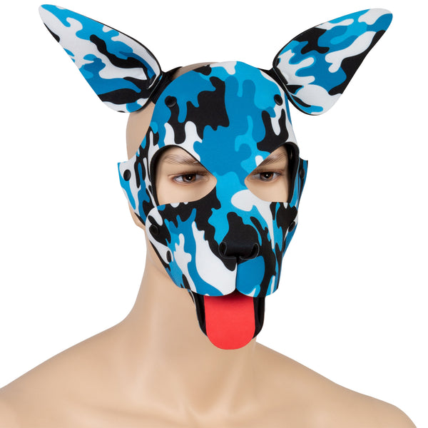 Blue Camo Neoprene Puppy Play Hood