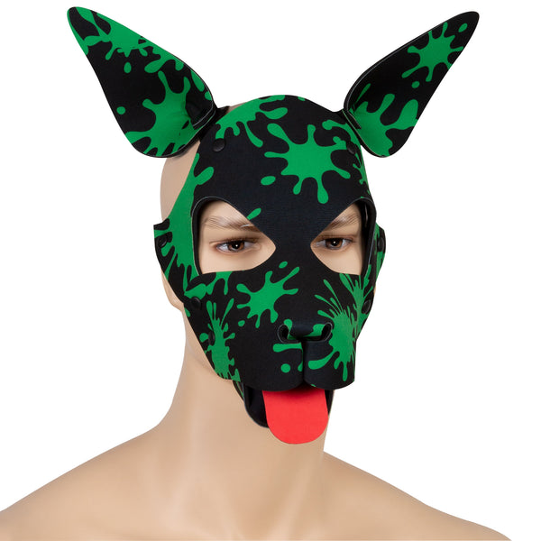 Green Splatter Neoprene Puppy Hood