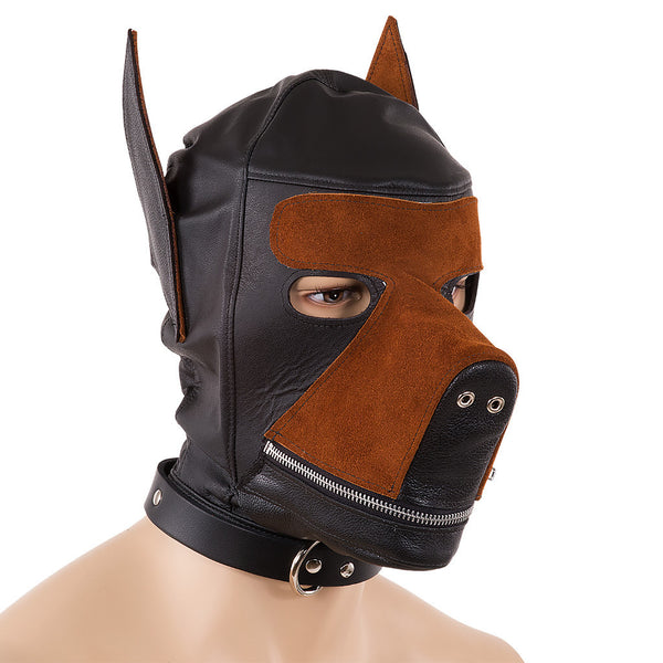 Leather bondage dog hood