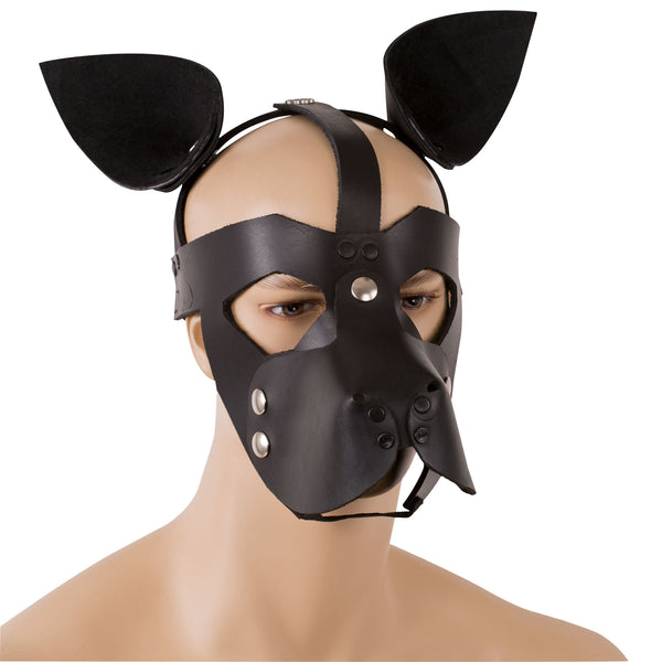 Leather puppy play mask with removable ears and snout