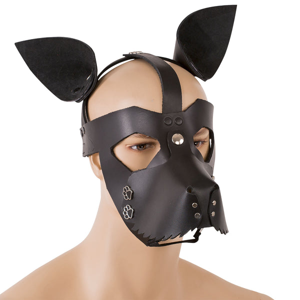 Leather dog mask with puppy paw rivets and shaggy cut jaw line