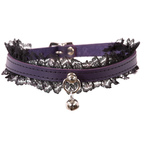 Purple and Black Mini Kitten Bell Lace Collar