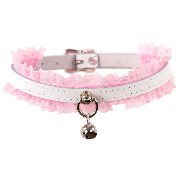 White and Pink Mini Kitten Bell Lace Collar