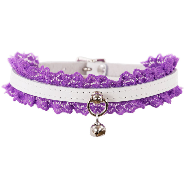 White leather and purple lace collar with a cute little bell