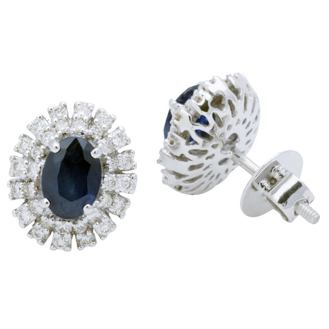 Oval Dark Blue Sapphire Diamond Earrings