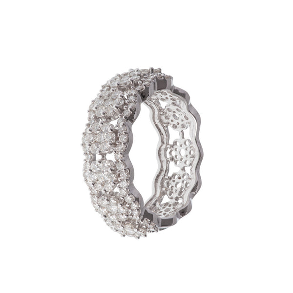 Broad Curve Diamond Ring