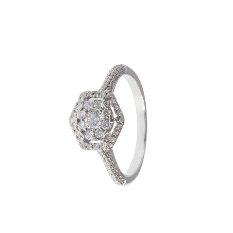 Nested Hexagon Diamond Ring