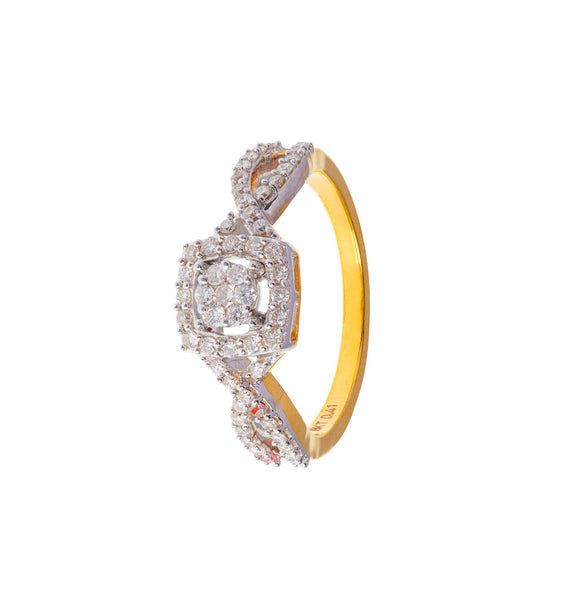 Nested Round-in-Square Diamond Ring