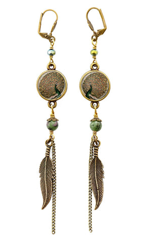 Peacock Pendant Earrings