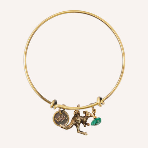 Kangaroo & Malachite Brass Bangle