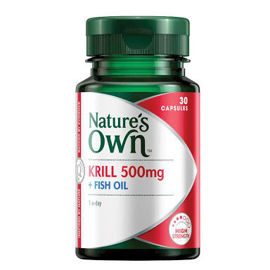 Nature's Own Krill Oil 500mg + Fish Oil 30 Capsules