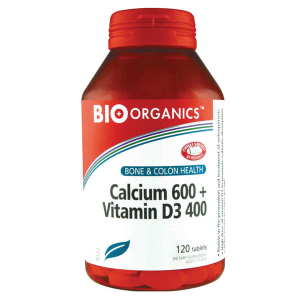 Bio-Organics Calcium 600 + Vitamin D3 400 120 Tablets