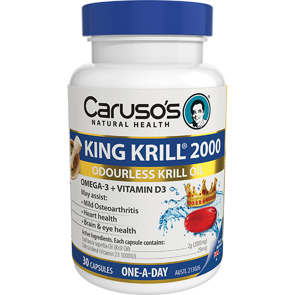 Carusos Natural Health King Krill 2000mg + Vitamin D3 30 Capsules