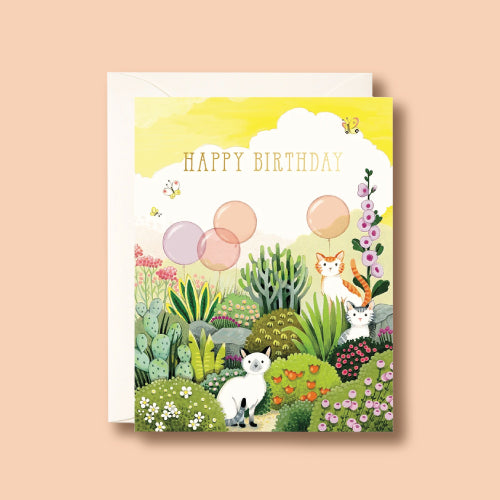 Card - Cats in Garden Birthday by Joojoo Paper