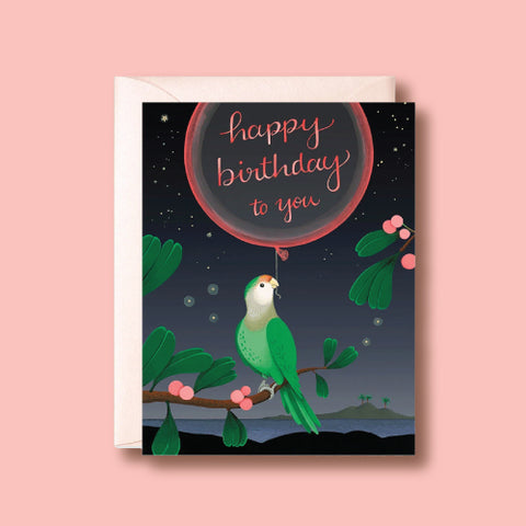 Card - Green Parrot Birthday by Joojoo Paper