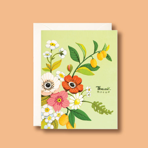Card - Green Floral Thank You by Joojoo Paper