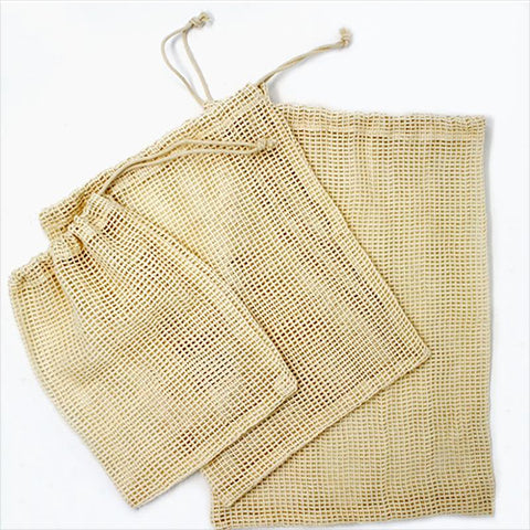Produce Bags - 100% Organic Cotton Mesh - Set of 3