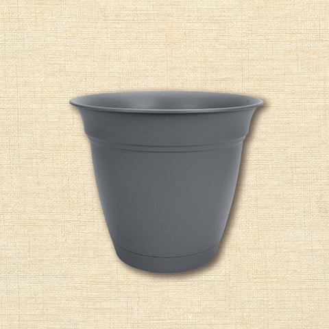 Planter - Eclipse with Attached Saucer - Warm Gray